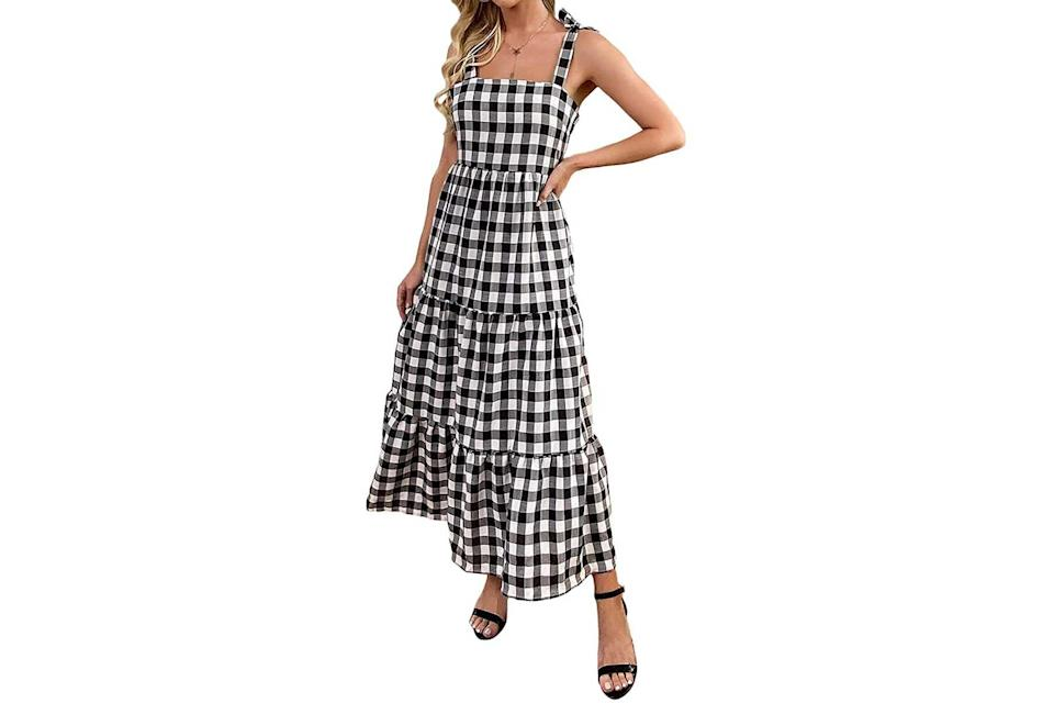 Floerns tie-strap midi dress in black and white gingham