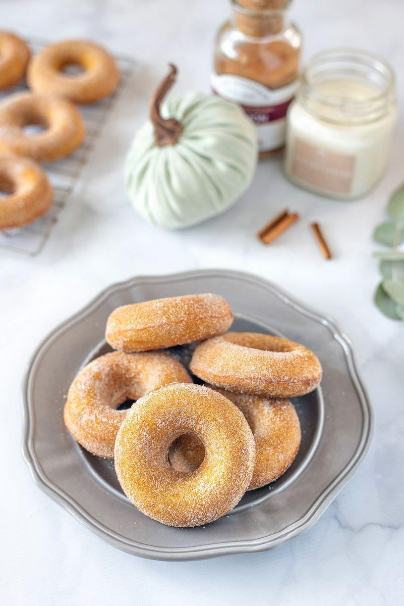 """<p>It's not an autumn party without pumpkin spice donuts, and these are baked, not fried, so they're light and fluffy.</p><p><a class=""""link rapid-noclick-resp"""" href=""""https://jennakateathome.com/pumpkin-spice-donuts/"""" rel=""""nofollow noopener"""" target=""""_blank"""" data-ylk=""""slk:GET THE RECIPE"""">GET THE RECIPE</a></p>"""