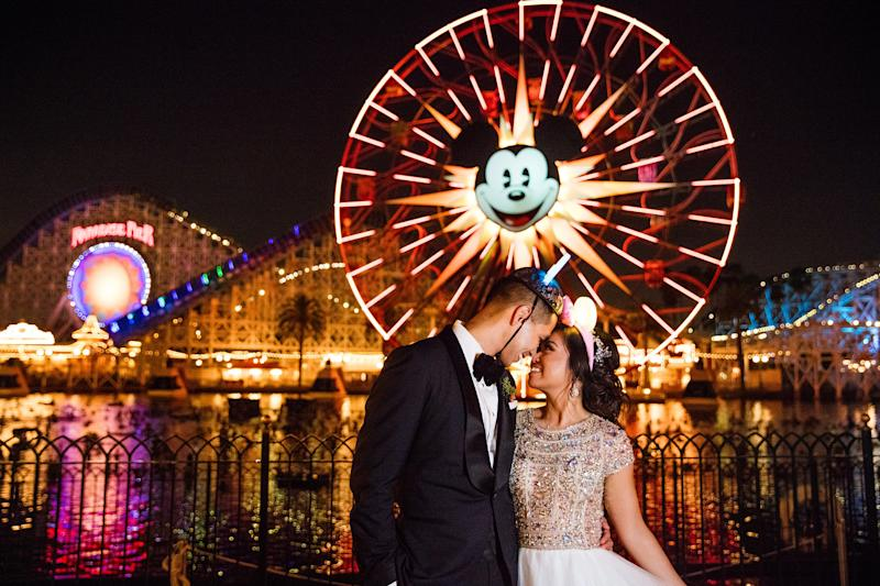 """Sarah and Gilbert, who first met at UC Berkeley in 2005, said their """"I dos"""" at Disneyland. (White Rabbit Photo Boutique)"""