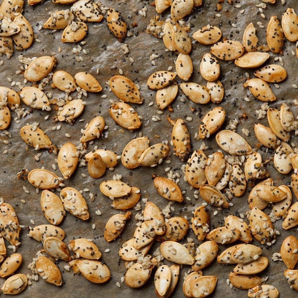 <p>Everything bagel spices give these roasted pumpkin seeds an extra hit of flavor that's delicious any time of day.</p>