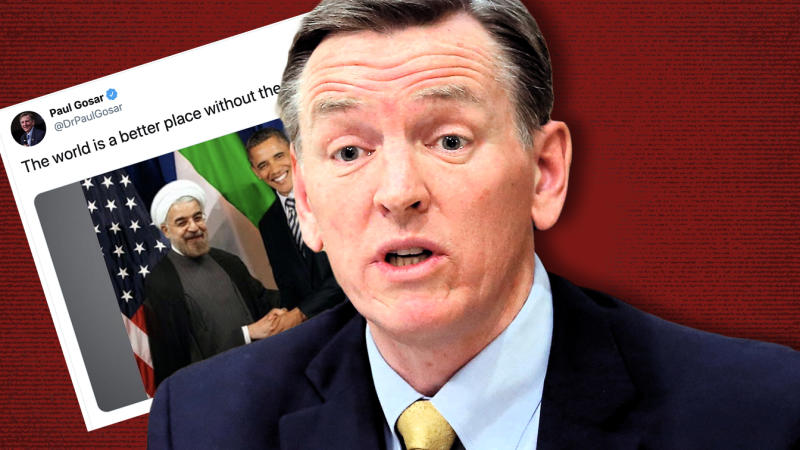 Congressman Paul Gosar and his tweet of a Photoshopped image. (Photo illustration: Yahoo News; photo: AP)
