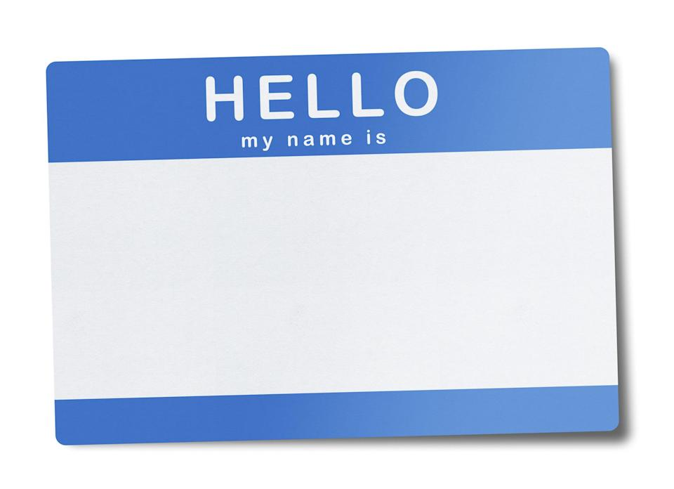 """Blank nametag that says, """"Hello, my name is"""""""