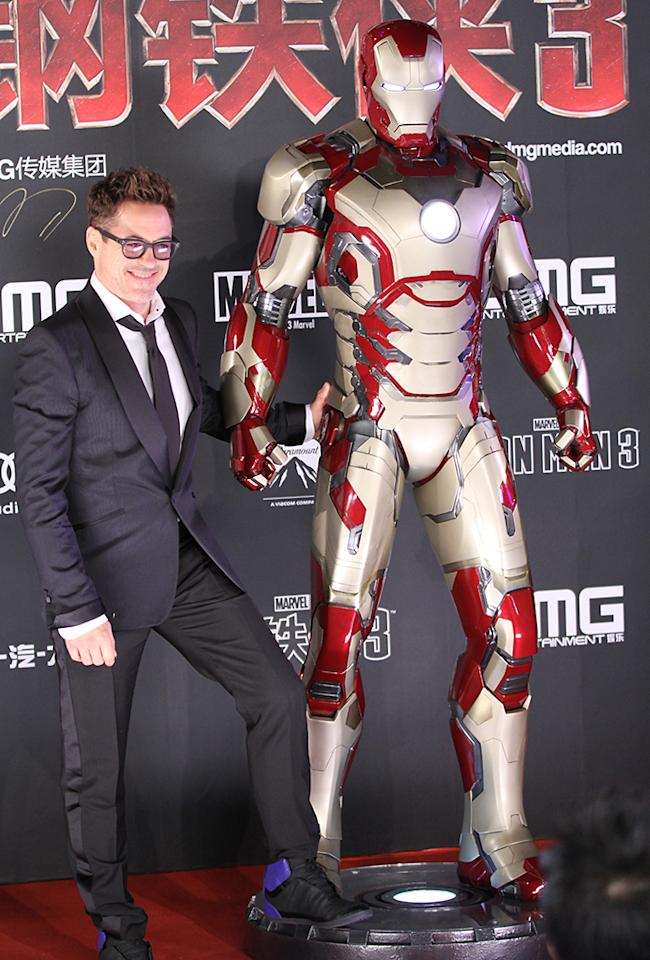 BEIJING, CHINA - APRIL 06: (CHINA MAINLAND OUT)  Robert Downey Jr. at premiere of movie Iron Man 3 on Saturday April 06, 2013 in Beijing, China.  (Photo by TPG/Getty Images)