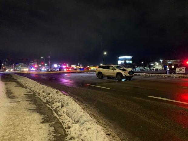 A crash near Chinook mall Thursday night killed an adult male pedestrian and left a  baby and a woman in serious, life-threatening condition.