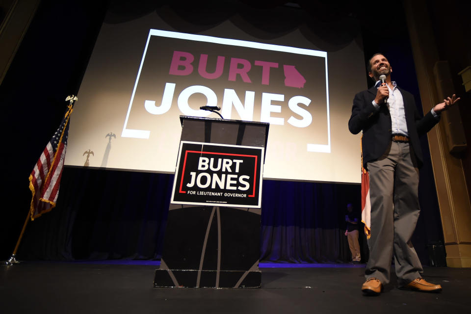 Donald John Trump Jr. speaks during a rally for Georgia state Sen. Burt Jones who is running for Lt. Governor, Wednesday, Sept. 22, 2021, in Marietta, Ga. The rewards of an early Donald Trump endorsement will be on display Saturday in Georgia. A three-man ticket of candidates he's backing in 2022 Republican primaries for statewide office will take the stage with him. Completing the trio is Jones, an early Trump supporter who pushed measures to overturn President Joe Biden's Georgia win. (AP Photo/Mike Stewart)