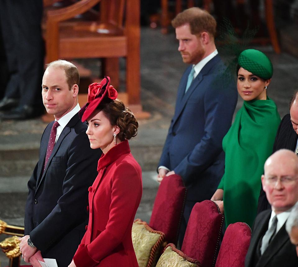 Prince William, Duke of Cambridge, Catherine, Duchess of Cambridge, Prince Harry, Duke of Sussex and Meghan, Duchess of Sussex attend the Commonwealth Day Service 2020 on March 9, 2020 in London, England.