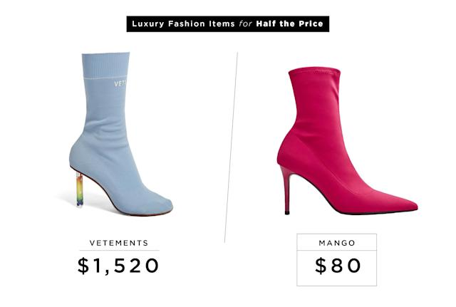 "<p>Vetements Lighter-Heel Sock Ankle Boots, $1,520, <a href=""http://www.matchesfashion.com/us/products/1080467?LGWCODE=1080467000003;104037;6167&qxjkl=tsid:57534&utm_source=polyvore&utm_medium=affiliation&utm_campaign=us&utm_term=ankle%20booties"" rel=""nofollow noopener"" target=""_blank"" data-ylk=""slk:matchesfashion.com"" class=""link rapid-noclick-resp"">matchesfashion.com</a><br>Mango Heel Sock Boots, $80, <a href=""http://shop.mango.com/us/women/shoes-heeled-shoes/heel-sock-boots_13073735.html?c=88&n=1&s=accesorios.accesorio;42,342,442"" rel=""nofollow noopener"" target=""_blank"" data-ylk=""slk:mango.com"" class=""link rapid-noclick-resp"">mango.com</a> </p>"