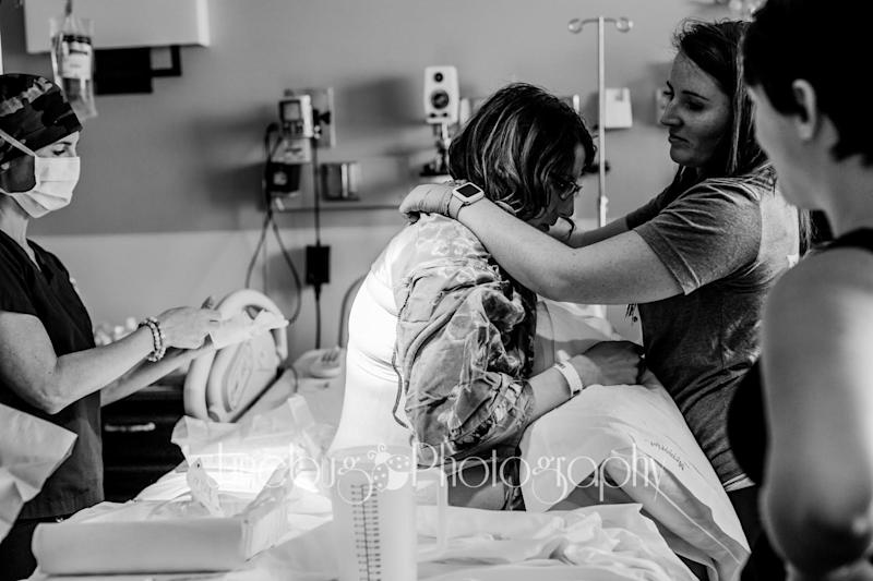 """""""This nurse made an effort to be in the room with this mama as much as she needed but still giving her the freedom she wanted,&nbsp;even though there were about&nbsp;6 other mamas giving birth that day! She was always so sweet every time she came in, and let mama labor the way <i>she </i>wanted to!"""""""