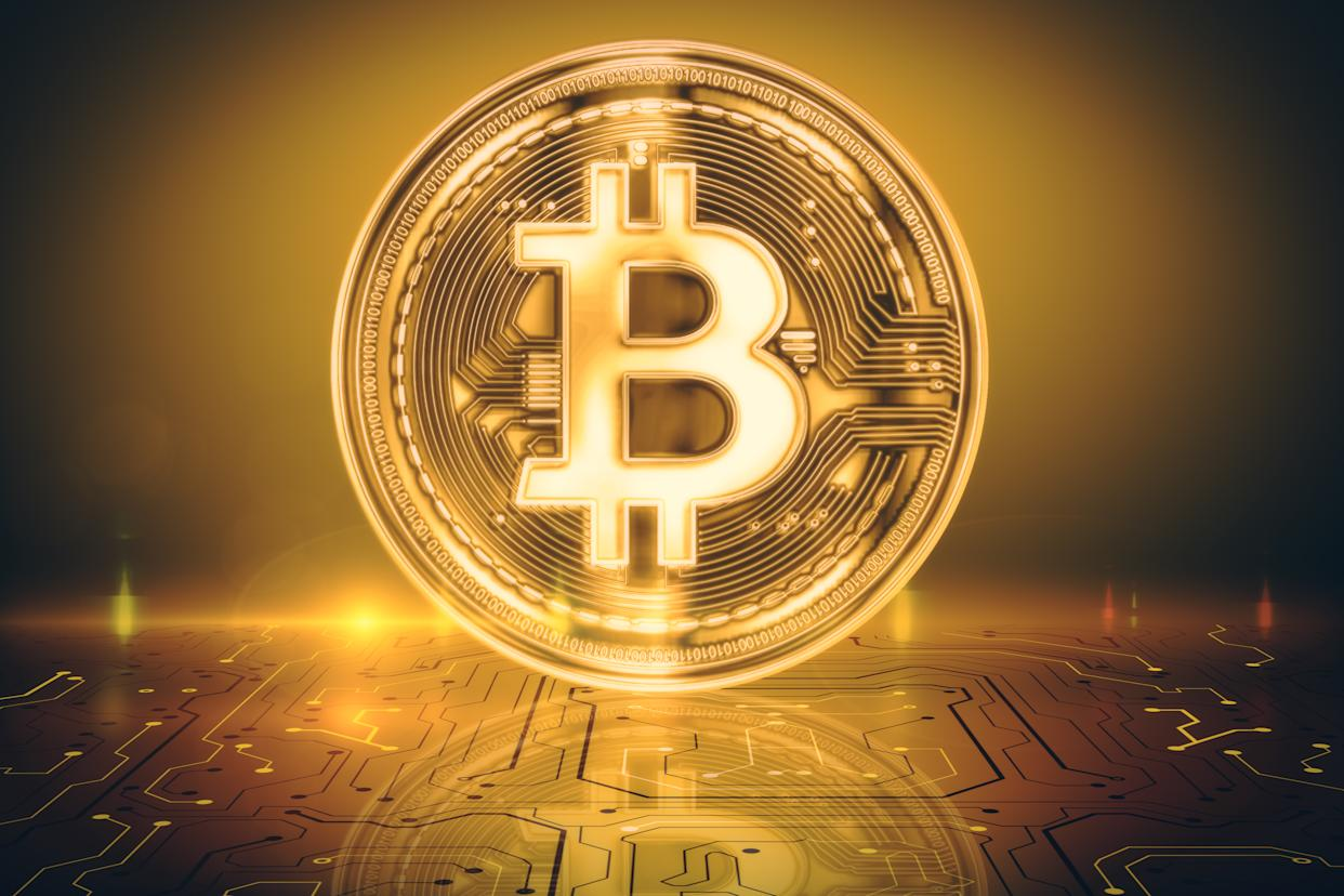 Creative glowing golden shiny bitcoin background. Cryptocurrency and e-commerce concept. 3D Rendering