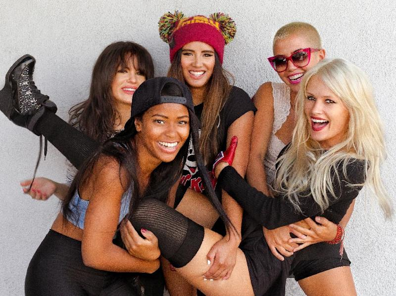 This undated publicity photo released by RCA Records shows members of G.R.L., clockwise from foreground left, Simone Battle, Natasha Slayton, Emmalyn Estrada, Paula Van Oppen and Lauren Bennett. G.R.l. is one of a new crop of girl groups currently on the music scene. (AP Photo/RCA Records, Tomo Muscionico)