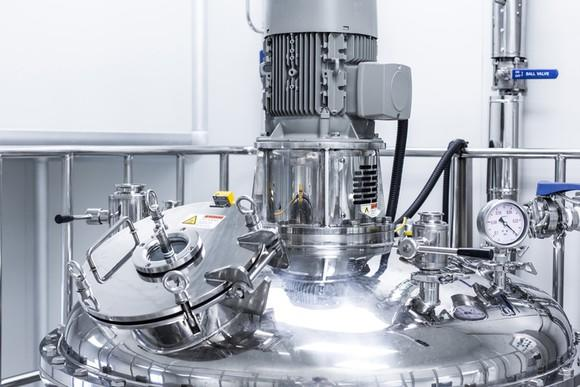 A stainless steel bioreactor.