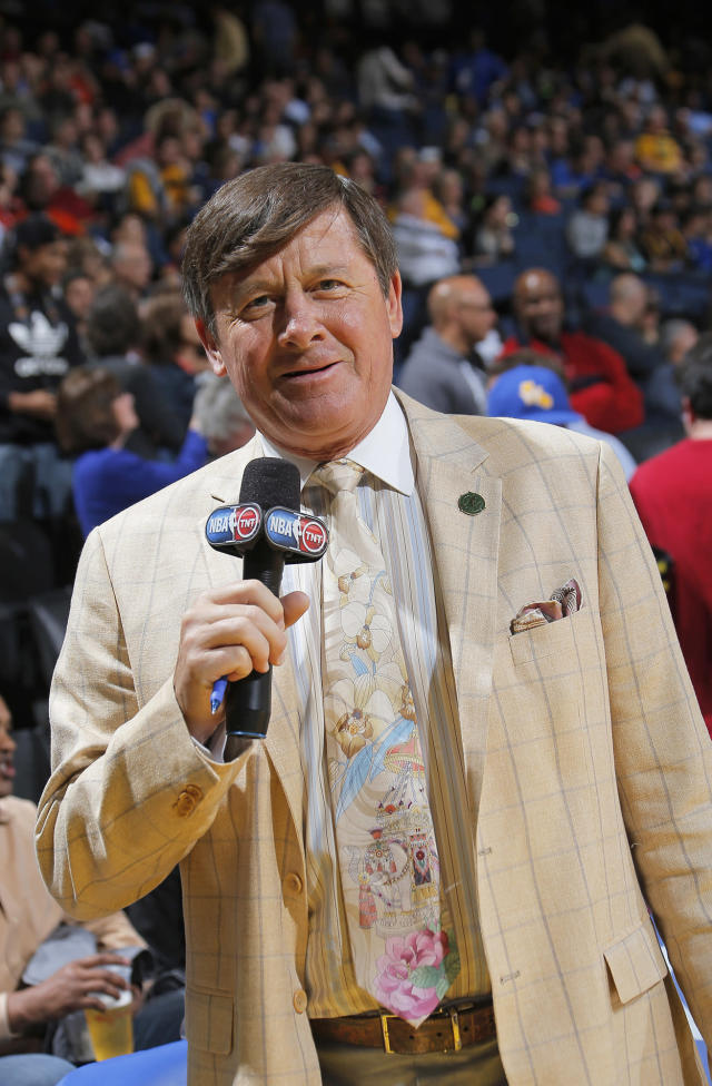<p>Craig Sager was a sportscaster known best for his NBA sideline reporting — and his outlandish wardrobe. Sager died December 15 at age 65 after battling leukemia. — (Pictured) TNT sideline reporter Craig Sager during the game between the Oklahoma City Thunder and Golden State Warriors in 2013 at Oracle Arena in Oakland, California. (Rocky Widner/NBAE via Getty Images) </p>