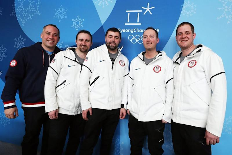 From left: U.S. Men's Curling coach Phill Drobnick and players Joe Polo, John Landsteiner, Tyler George and John Shuster