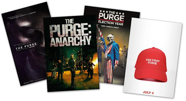 "Posters from the four ""Purge"" films."