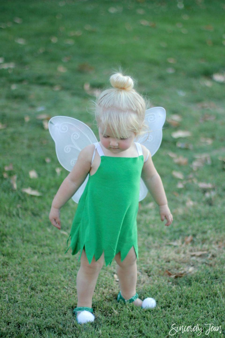 """<p>No need for magic pixie dust—you can make this costume in just a few easy steps.</p><p><strong><strong>Get the tutorial at <a href=""""https://sincerelyjean.com/diy-toddler-tinker-bell-costume-and-hair/"""" rel=""""nofollow noopener"""" target=""""_blank"""" data-ylk=""""slk:Sincerely Jean"""" class=""""link rapid-noclick-resp"""">Sincerely Jean</a>.</strong></strong></p>"""