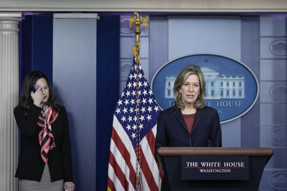 WASHINGTON, DC - MAY 10: (L-R) Deputy National Security Advisor for Cyber and Emerging Technology Anne Neuberger  and Homeland Security Advisor and Deputy National Security Advisor Dr. Elizabeth Sherwood-Randall speak about the Colonial Pipeline cyber attack during the daily press briefing at the White House on May 10, 2021 in Washington, DC. According to news reports, a criminal group from Russia named