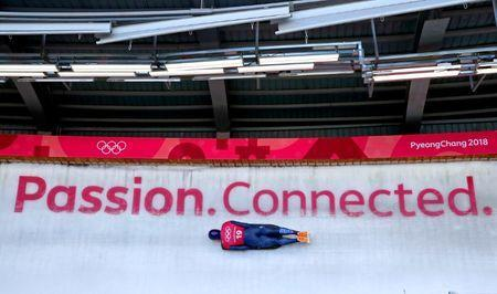 Feb 13, 2018; Pyeongchang, South Korea; Jerry Rice of Great Britain in the Men's Skeleton Men's Official Traing during the Pyeongchang 2018 Olympic Winter Games at the Olympic Sliding Center. Mandatory Credit: Peter Casey-USA TODAY Sports