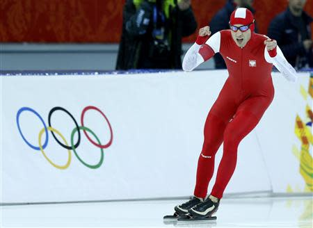 Zbigniew Brodka of Poland reacts after competing in the men's 1,500 metres speed skating race during the 2014 Sochi Winter Olympics