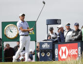 United States' Collin Morikawa play his tee shot from the 7th hole during the second round of the British Open Golf Championship at Royal St George's golf course Sandwich, England, Friday, July 16, 2021. (AP Photo/Peter Morrison)