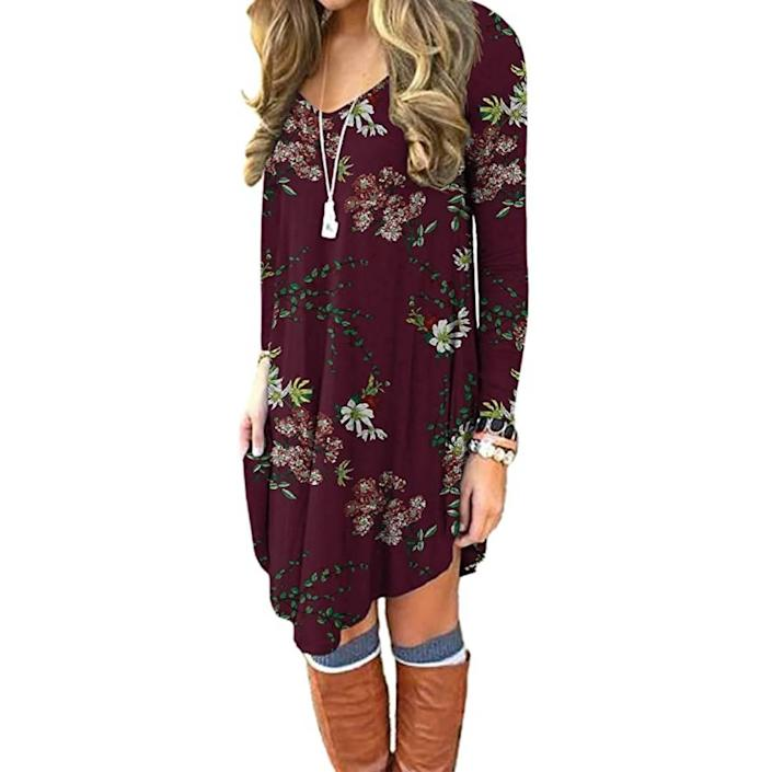 DEARCASE Long Sleeve Casual Loose T-Shirt Dress (Photo: Amazon)