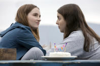 """This image released by Annapurna Pictures shows Kaitlyn Dever, left, and Beanie Feldstein in a scene from the film """"Booksmart."""" The film was nominated for a GLAAD Media Award for outstanding wide release film on Wednesday, Jan. 8, 2020. (Francois Duhamel/Annapurna Pictures via AP)"""