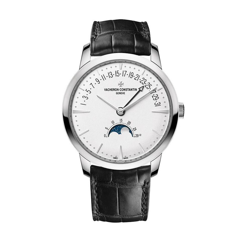 "<p><a class=""link rapid-noclick-resp"" href=""https://www.vacheron-constantin.com/en2/watches/patrimony/patrimony-moon-phase-and-retrograde-date-4010u-000g-b330.html"" rel=""nofollow noopener"" target=""_blank"" data-ylk=""slk:BUY IT HERE"">BUY IT HERE</a></p><p>The first word that comes to mind when seeing a Vacheron watch is timeless. The brand's designs are meant to be passed down from generation to generation and always feel modern. Established in 1755, the brand has one of the most expansive watchmaking reputations in the game and is a who's who for watch collectors and insiders alike. </p>"