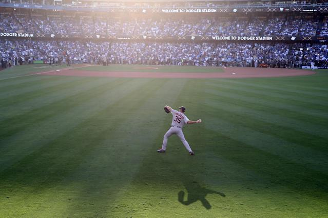 <p>Justin Verlander #35 of the Houston Astros warms up in the outfield prior to Game 2 of the 2017 World Series against the Los Angeles Dodgers at Dodger Stadium on Wednesday, October 25, 2017 in Los Angeles, California. (Photo by Rob Tringali/MLB Photos via Getty Images) </p>