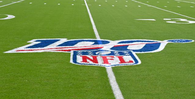 """Aug 22, 2019; Miami Gardens, FL, USA; view of the NFL 100 logo on the field before a game between the <a class=""""link rapid-noclick-resp"""" href=""""/nfl/teams/jacksonville/"""" data-ylk=""""slk:Jacksonville Jaguars"""">Jacksonville Jaguars</a> and the <a class=""""link rapid-noclick-resp"""" href=""""/nfl/teams/miami/"""" data-ylk=""""slk:Miami Dolphins"""">Miami Dolphins</a> at Hard Rock Stadium. Mandatory Credit: Steve Mitchell-USA TODAY Sports"""