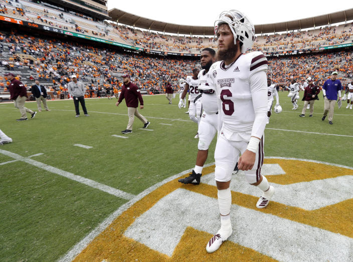 Mississippi State quarterback Garrett Shrader (6) walks off the field after a 20-10 loss to Tennessee in an NCAA college football game Saturday, Oct. 12, 2019, in Knoxville, Tenn. (AP Photo/Wade Payne)