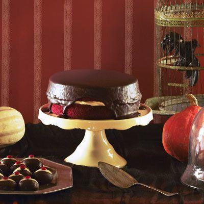 """<p>This red velvet cake might look a little eerie, but the rich texture and handmade chocolate syrup will keep you coming back for more.</p><p><em><a href=""""https://www.womansday.com/food-recipes/food-drinks/recipes/a39090/creepy-red-velvet-cake-recipe-ghk1012/"""" rel=""""nofollow noopener"""" target=""""_blank"""" data-ylk=""""slk:Get the recipe for Creepy Red Velvet Cake"""" class=""""link rapid-noclick-resp"""">Get the recipe for Creepy Red Velvet Cake</a>.</em></p>"""