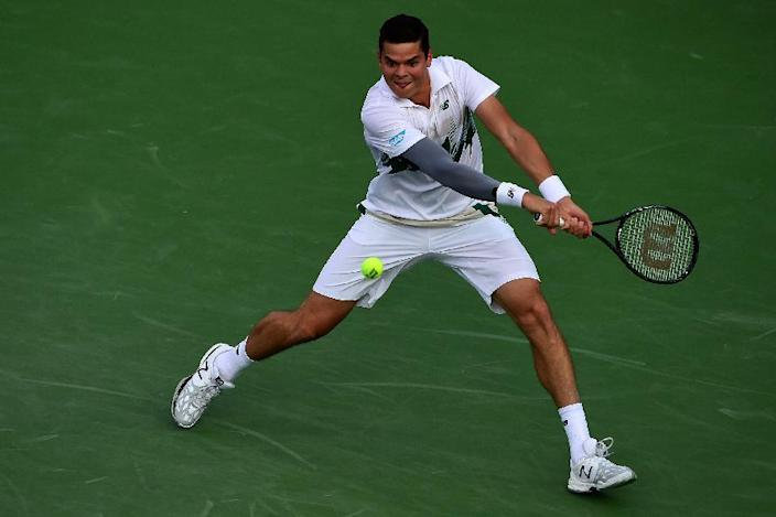 Milos Raonic returns a shot during his Washington Open match against Jack Sock on July 30, 2014 (AFP Photo/Patrick Smith)