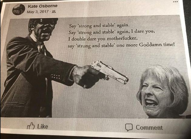 The image Kate Osborne shared on Facebook during the 2017 election campaign, which recently emerged, sparked a complaint by almost 40 female candidates.
