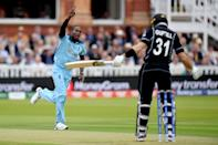 Jofra Archer celebrates what he believed was the wicket of Martin Guptill (Photo by Mike Hewitt/Getty Images)
