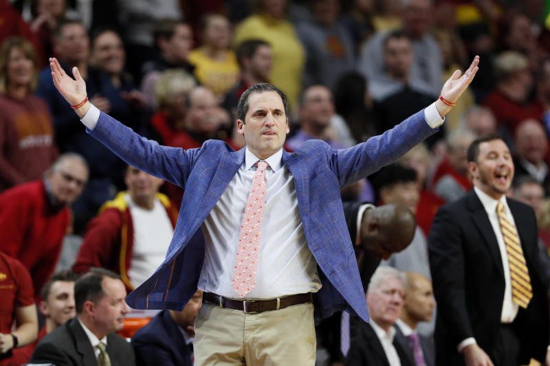 Iowa State head coach Steve Prohm reacts during the second half of an NCAA college basketball game against Oklahoma State, Tuesday, Jan. 21, 2020, in Ames, Iowa. Iowa State won 89-82. (AP Photo/Charlie Neibergall)