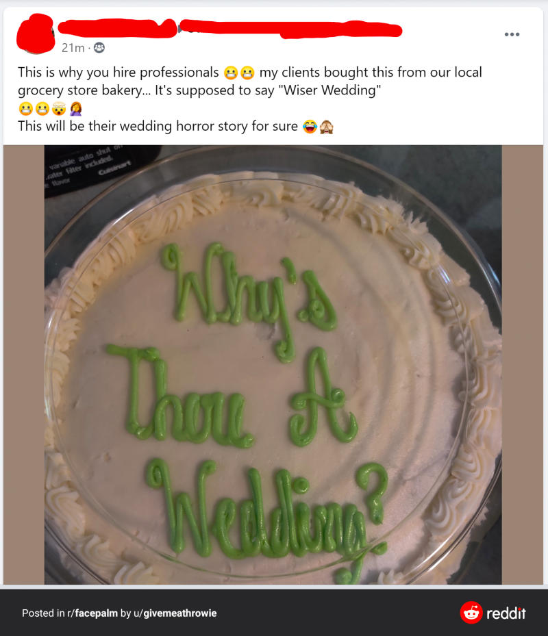 A photo of the wedding cake showing the words: Why's there a wedding?