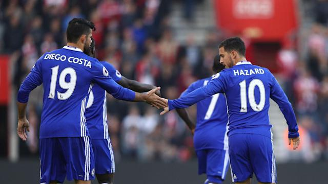 Antonio Conte named key Chelsea attackers Eden Hazard and Diego Costa on the bench, with Michy Batshuayi starting against Spurs at Wembley.