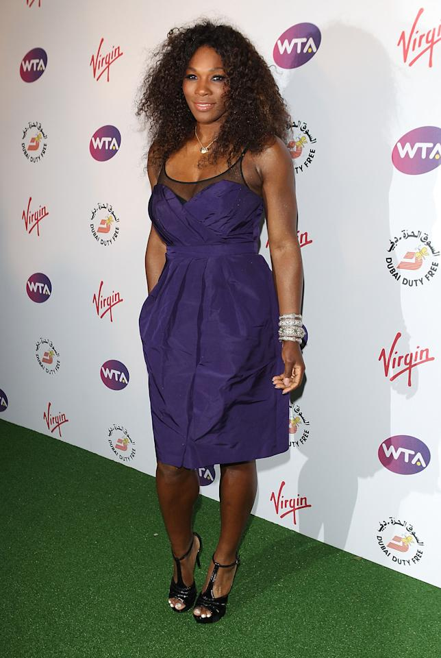 LONDON, ENGLAND - JUNE 21: Serena Williams arrives at the WTA Tour Pre-Wimbledon Party at The Roof Gardens, Kensington on June 21, 2012 in London, England. (Photo by Tom Dulat/Getty Images for WTA)