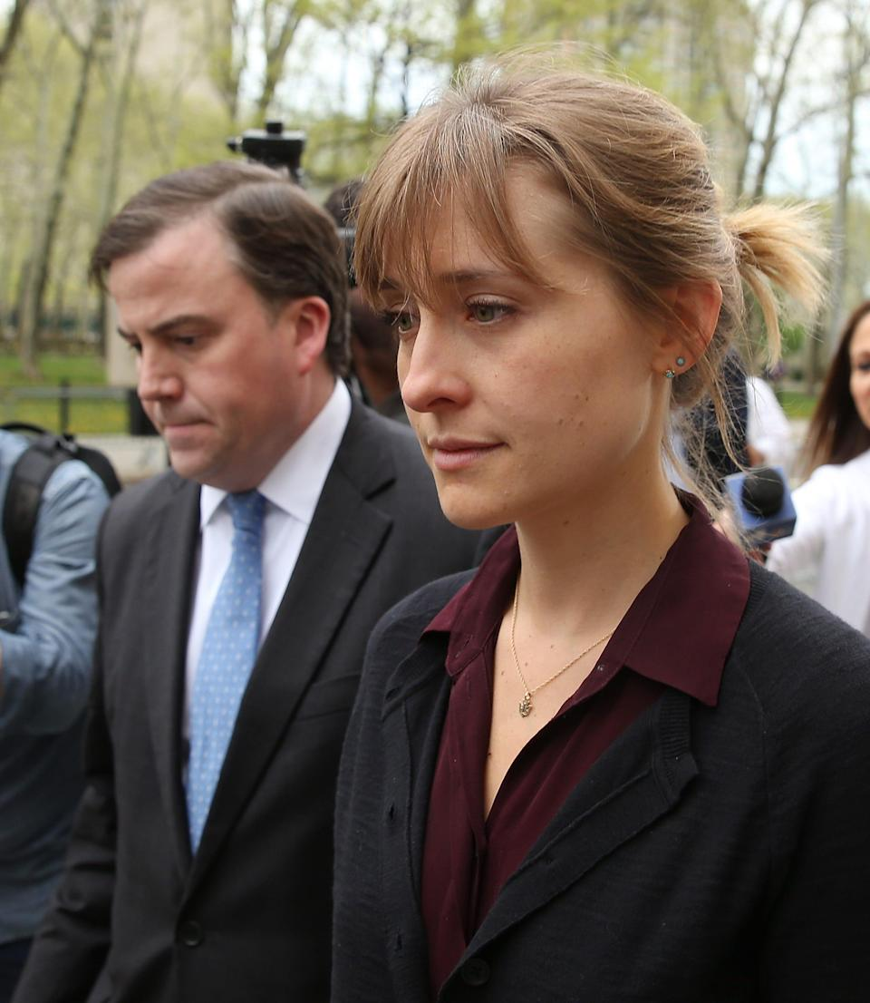 Allison Mack leaves court following her bail hearing on May 4, 2018, in Brooklyn.