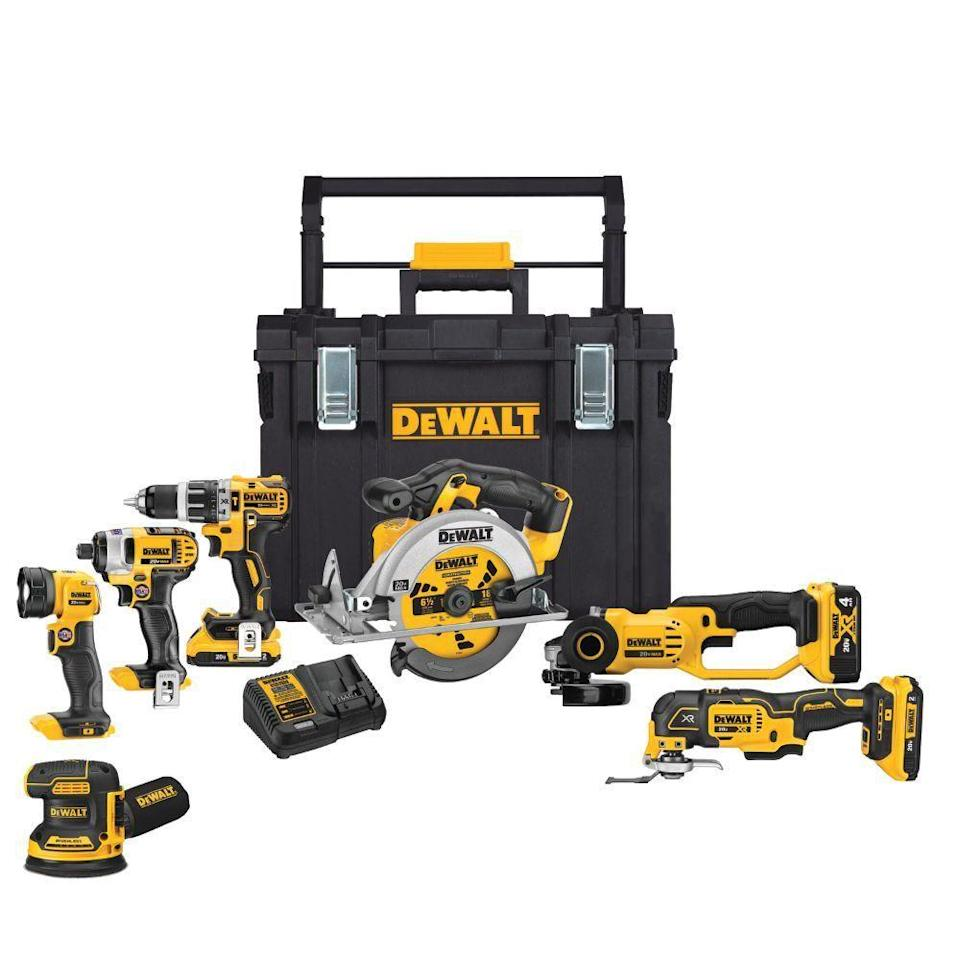 """<p><strong>DEWALT</strong></p><p>homedepot.com</p><p><a href=""""https://go.redirectingat.com?id=74968X1596630&url=https%3A%2F%2Fwww.homedepot.com%2Fp%2FDEWALT-20-Volt-MAX-Lithium-Ion-Cordless-Combo-Kit-7-Tool-with-ToughSystem-DCKTS781D2M1%2F312585400&sref=https%3A%2F%2Fwww.menshealth.com%2Ftechnology-gear%2Fg33013799%2Fhome-depot-4th-of-july-sale-best-deals%2F"""" rel=""""nofollow noopener"""" target=""""_blank"""" data-ylk=""""slk:BUY IT HERE"""" class=""""link rapid-noclick-resp"""">BUY IT HERE</a></p><p><del>$1,200.00</del><strong><br>$499.00</strong></p><p>Go ahead, flex your DIY muscle with the help of DEWALT's cordless combo kit. With a drill, sander, and circular saw, this kit has everything you need to complete your home makeover.</p>"""