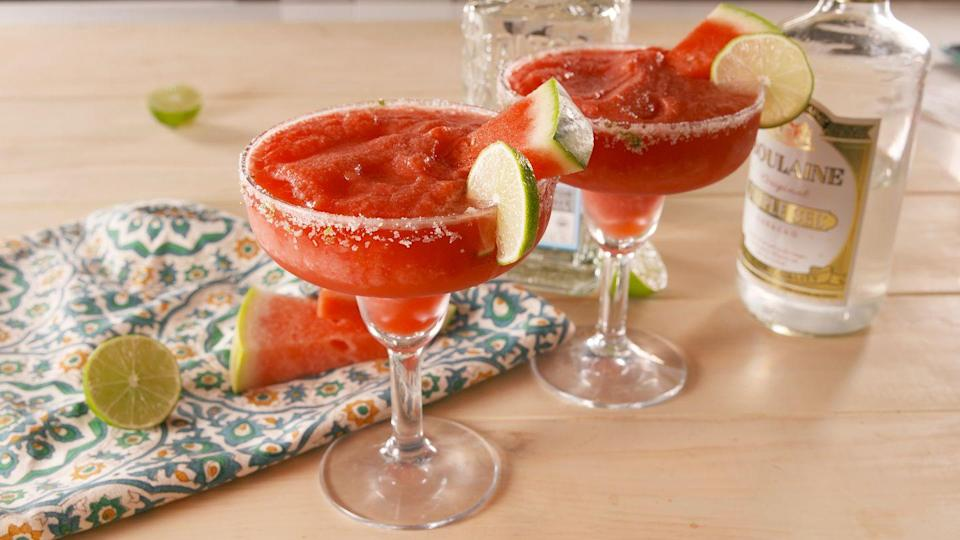 """<p>These are crazyyy refreshing!</p><p>Get the recipe from <a href=""""https://www.delish.com/cooking/recipe-ideas/a22604091/frozen-watermelon-margaritas-recipe/"""" rel=""""nofollow noopener"""" target=""""_blank"""" data-ylk=""""slk:Delish"""" class=""""link rapid-noclick-resp"""">Delish</a>.</p>"""