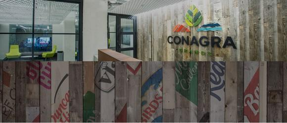 Lobby with Conagra logo, along with strips showing Conagra's brands.
