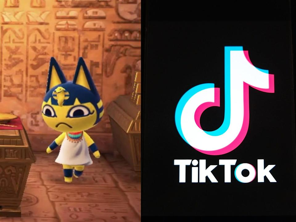 Left: Ankha the cat character from animal crossing wearing a white dress and standing in a room with hieroglyphs on the walls; right: the tiktok logo