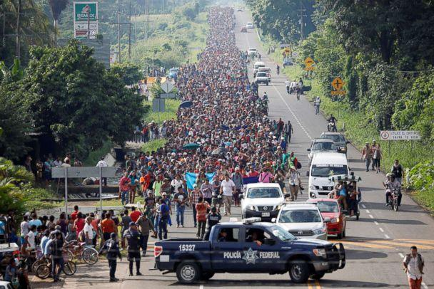 PHOTO: Central American migrants walk along the highway near the border with Guatemala, as they continue their journey trying to reach the U.S., in Tapachula, Mexico Oct. 21, 2018. (Ueslei Marcelino/Reuters)