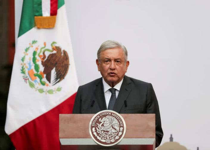 FILE PHOTO: Mexico's President Lopez Obrador addresses to the nation on his second anniversary as President, at the National Palace in Mexico City
