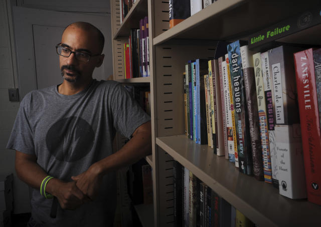 Pulitzer Prize writer Junot Diaz photographed at his MIT office on September 12, 2013. (Boston Globe via Getty Images)