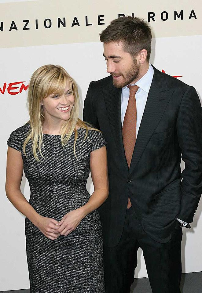 """Were they or weren't they? Reese Witherspoon and Jake Gyllenhaal kept their relationship on the down low until they were spotted kissing during a trip to Rome in October. Ashley Love/<a href=""""http://www.splashnewsonline.com"""" target=""""new"""">Splash News</a> - November 29, 2007"""