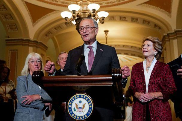 PHOTO: Senate Majority Leader Chuck Schumer is flanked by Senators' Patty Murray, Dick Durbin and Debbie Stabenow as he talks to reporters following the Senate Democrats weekly policy lunch at the Capitol, July 13, 2021.  (Elizabeth Frantz/Reuters)