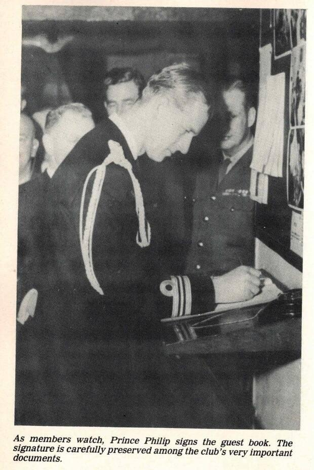 Prince Philip became an honourary lifetime member of the Crow's Nest Officers' Club in 1951.