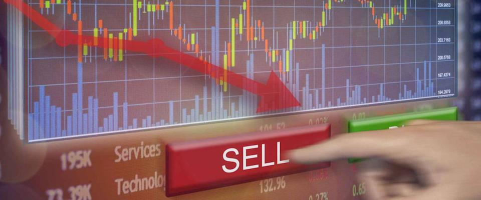Stock market plummet sell shares on exchange with financial loss and money gone.