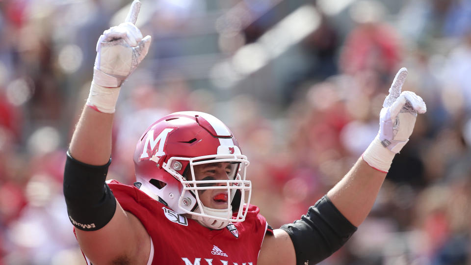 Miami (Ohio) OT Tommy Doyle is our highest-rated 2021 NFL draft prospect from the MAC. (AP Photo/Tony Tribble)
